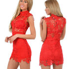 RED PLUS SIZE Sexy Womens Bandage Bodycon Lace Evening Party Mini Dress Clubwear