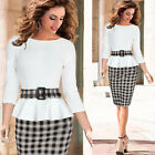 White & Black Grids New Womens Office Work Smart Bodycon Pencil Dress Size 2XL~S