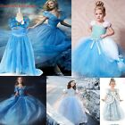 New Cartoon Princess Cinderella Girl Gown Dress Big Swing Dresses Kids Costume