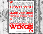 Westlife Flying Without Wings Lyrics Canvas Song Lyric Art Prints Typography