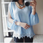 Sexy Women Lace Splicing Chiffon Floral Long Sleeve Blouse Tops Shirt Vogue