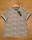 Ladies Monochrome Short Sleeved Chiffon Top RRP £15.00 - Brand New With Tags