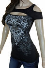 Bling Plus Size Rhinestone Fleur De Lis Open Cold Shoulder Peekaboo New Top