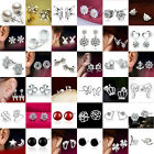 Fashion Women Crystal Rhinestone Pearl Ear Stud Earrings 925 Silver Sterling