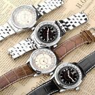 Mens Boys Silvery Case Casual Fashion Leather/Stainless Steel Band Wrist Watch