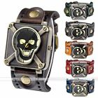 1pc Bronze Metal Punk Skull Square Case Leather Retro Quartz Analog Watch Unisex