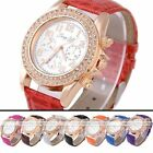 1pc Golden Crystal Bezel Quartz Analog Elegant Womens Wrist Band Casual Watch