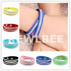 1pc Crystal Suede PU Leather Wrap Streamline Effect Fit for Bracelet Necklace