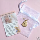 Girl Boy First Communion Brooch Dress Pin Medal Prayer Verse Card Gift Keepsake