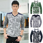 Mens Stylish Slim Fit Long Sleeve V-Neck Splicing Casual Cotton T-Shirt Tops Tee