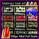 100pc Full Cover Nail Tips Metallic Gold Silver Mid Length False Art Acrylic Gel