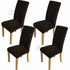 4pcs Removable Super Fit Stretch Short Dining Room Chair Cover Decor Chocolate