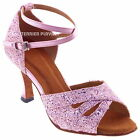 TPS Pink Satin & Glitter Latin Ballroom Salsa Custom-made Dance Shoes D590
