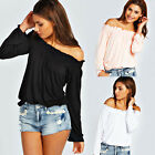 2015 Sexy Casual Fashion Womens Strapless Long Sleeve Shirt Summer Blouse Tops