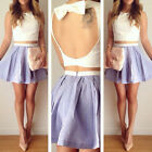 New SUMMER Womens Girls Sexy Backless Party Mini Dress Crop Top + Skirt 2Pcs Set