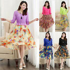 Korean Women's Casual 3/4 Sleeve Floral Summer Chiffon Short Dress Size XS S M L