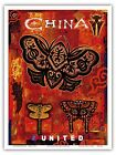 China Dragonfly Butterfly Kites Vintage Airline Travel Art Poster Print