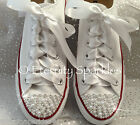 Customised White Pearl And Crystal Wedding Converse All Star Ribbon Laces UK 3-7