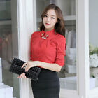 Womens Top Shirt Blouse Long Sleeve Buttons Lapel Rhinestone Slim Fit OL
