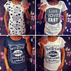 Sexy Womens Short Sleeve Loose Print T-shirt Summer Casual Tops Blouse Shirt
