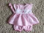 BABY GIRLS BEAUTIFUL PINK 3 PIECE DRESS, BLOOMERS & HEADBAND SET 0-3 3-6 6-9