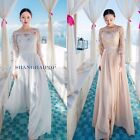 Women Lace Diamante Bridesmaid Dress Prom Off Shoulder Wedding Hollow Pleated
