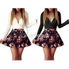 2015 Fashion Flower Print V-neck A-line Skirt Skorts Casual Club Dress Plus Size