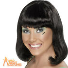 Ladies Short Black Party Wig with Fringe 1970s Fancy Dress Costume Accessory