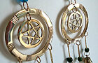 Pentagram Brass Windchime - Wall Hanging with Bells and Coloured Beads