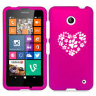 For Nokia Lumia 630 635 Rubber Hard Case Cover Heart Paw Prints