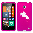 For Nokia Lumia 630 635 Rubber Hard Case Cover Horse with Rider