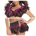 Women's Hot Pink Feather top & Mini Skirt Outfit EDM Burning Man...