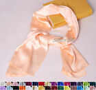 "Womens Ladies 100% Pure Silk Long Hip Scarf Shawl 21.6""x43""/55cmx110cm 30 Colors"