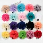 Lots Chiffon fabric corsage flower Appliques Sewing Wedding Diy 20color U-Pick