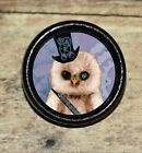 STEAMPUNK OWL top hat goggles cog Altered Art Tie Tack or Ring or Brooch pin