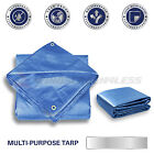 Blue Tarp Reinforced Weather Resistant Strong Poly Tarpaulin Cover Tent Shelter