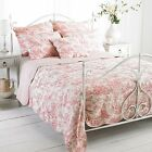 100% Cotton Quilted Pink French Country Toile De Jouy Quilted Bedspread Throw