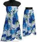 Blue Floral Convertible Cover-Up SunDress or Skirt -NEW- S, M, L Beach/Summer