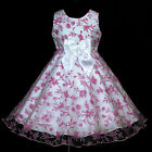 UKG Pure White Bow Hotpink pwb382 Wedding Party Bridesmaids Girls Dress 2,3-12y