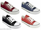 NEW MENS WOMENS GIRLS BOYS LACE UP PLIMSOLL PUMPS CANVAS TRAINERS SHOE SIZE ALL