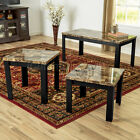 3 Piece Faux Marble Coffee Table Set Living Room Sofa Accent End Corner Cherry