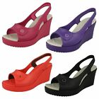 LADIES CASUAL WEDGE SLING-BACK SHOES (CROCS HAVANA WOMEN