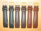 Denver Leather Smooth Watch Strap For Fixed Lugs 16mm 18mm 20mm  Black Brown
