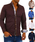 RICHBERRY Men's plain cotton shirt Stand up Grandad collar Casual Long sleeve.