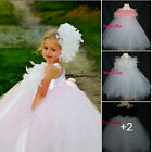 Girls Bridesmaid tutu Dress Kids Wedding Summer & Feather Hair accessory prom