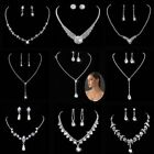 Prom Wedding Bridal Jewelry Silver Diamante Crystal Pearl Necklace Earrings Sets