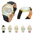 New Casual Watch Women Men English Letters Leather Analog Quartz Dial WristWatch