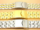 S/Steel Two-Tone Gold Plated Watch Strap Bracelet, 20mm 21mm 22mm, File to Fit