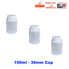 100ml CAP NECK 38mm PLASTIC HDPE BOTTLES WHITE SCREW WIDE WATERTIGHT WADDED TOP