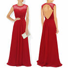 Red Chiffon Beaded Capped Long Evening Cruise Formal Dress Prom Party Gown